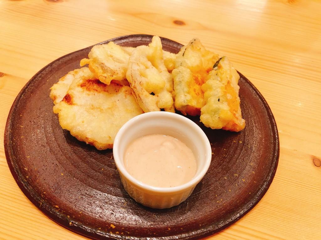 ミニコース:季節野菜のフリット(長芋、レンコン、かぼちゃ)